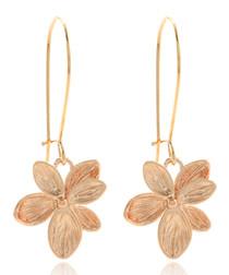 14ct rose gold-plated flower earrings