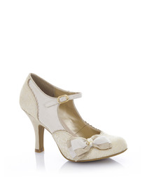 Maria cream & gold Mary Jane heels
