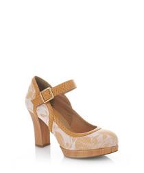 Cassandra sand print Mary Jane heels
