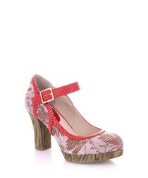 Cassandra coral print Mary Jane heels