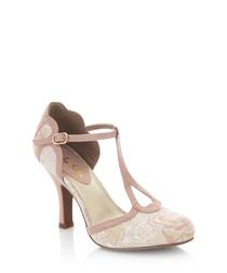 Polly peach print T-bar heels