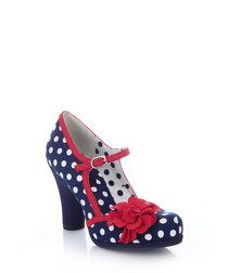 Hannah navy & red print flower heels
