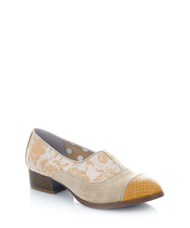 Brooke sand & yellow print slip-ons