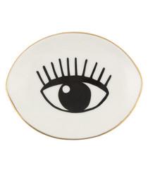 Eyes On You white ceramic trinket dish