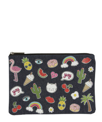 Patches & Pins navy print purse