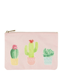 Pastel Cactus pink print purse