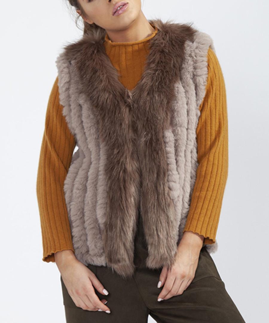 Mocha faux fur gilet Sale - jayley