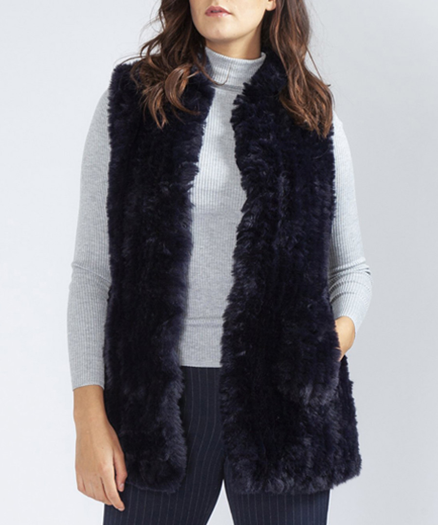Navy faux fur gilet Sale - jayley