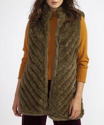 Brown faux fur high neck gilet