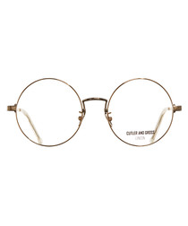 Gold-tone rounded clear lens glasses