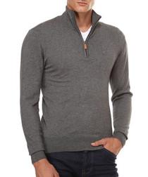 Grey cashmere blend zip jumper