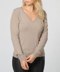 Desert cashmere V-neck jumper