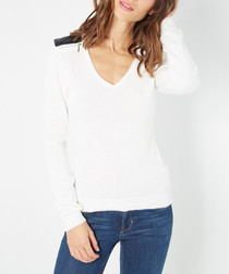 Natural cashmere & silk V-neck jumper