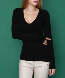 Noir cashmere blend V-neck jumper