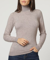 Desert cashmere high-neck jumper
