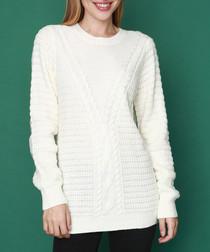 Natural cashmere & mohair knit jumper