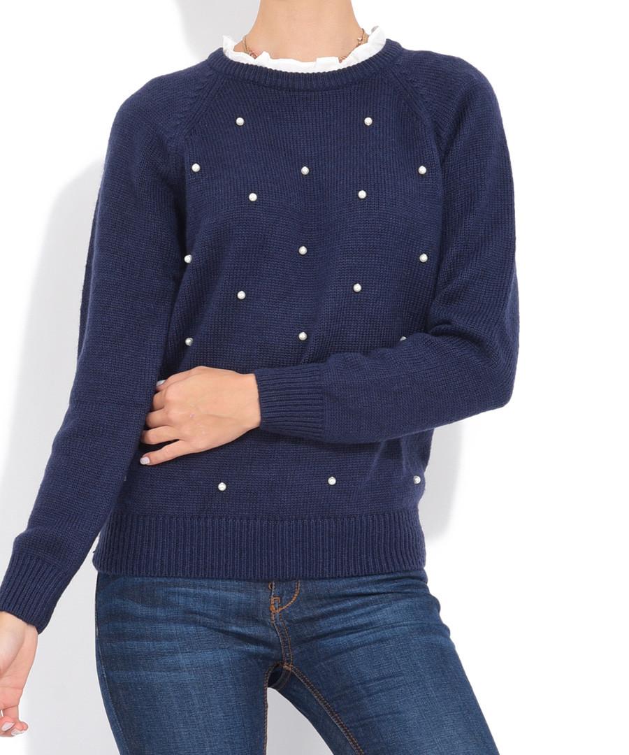 Navy cashmere & mohair detailed jumper Sale - william de faye
