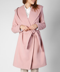 Pink wool blend wrap coat
