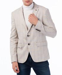 Ecru linen blend check blazer