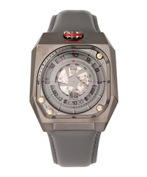 Asher gunmetal & grey leather watch