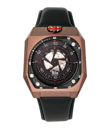 Asher bronze-tone & black leather watch