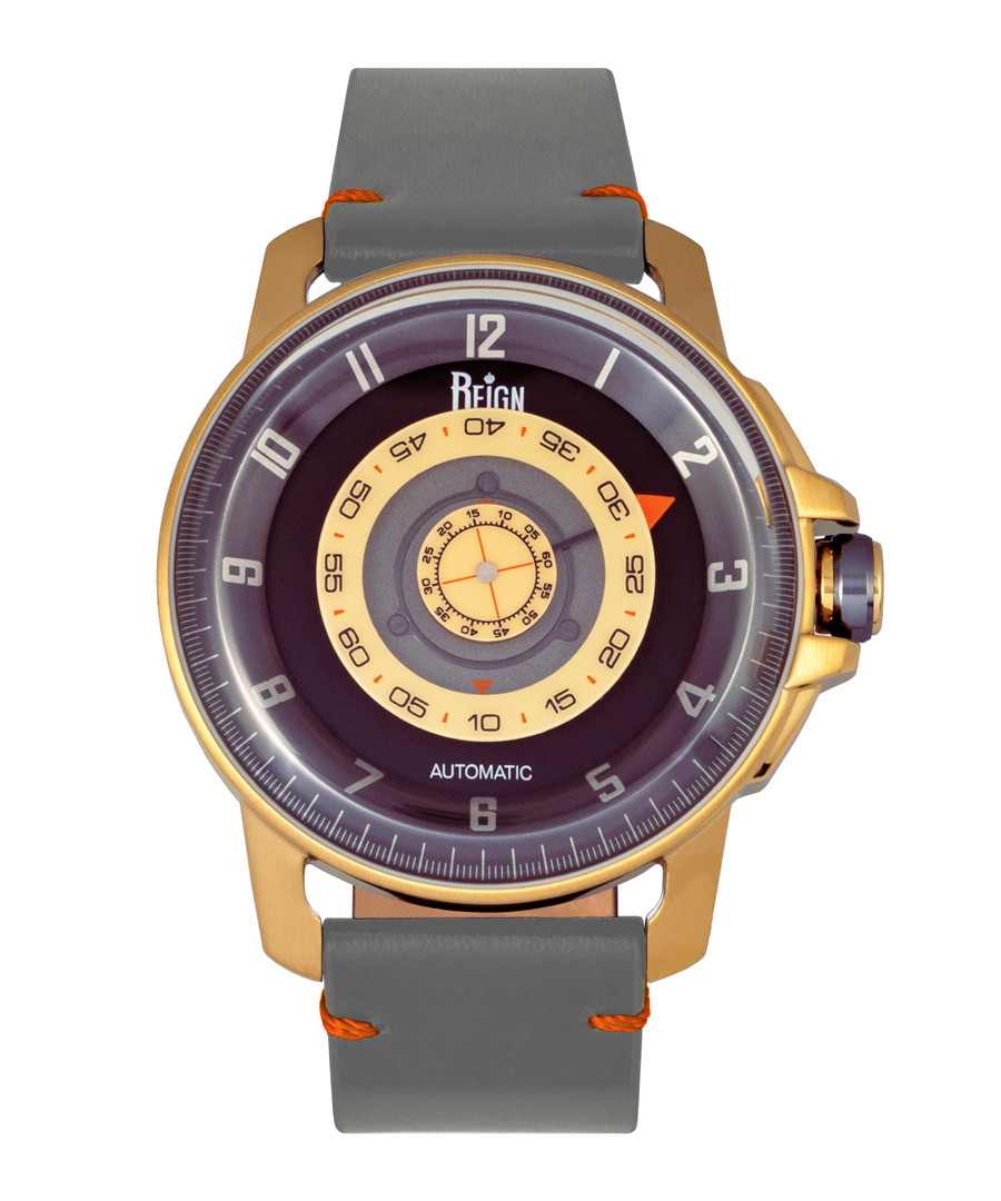 Monarch gold-tone & grey leather watch Sale - reign