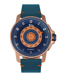 Monarch blue leather watch