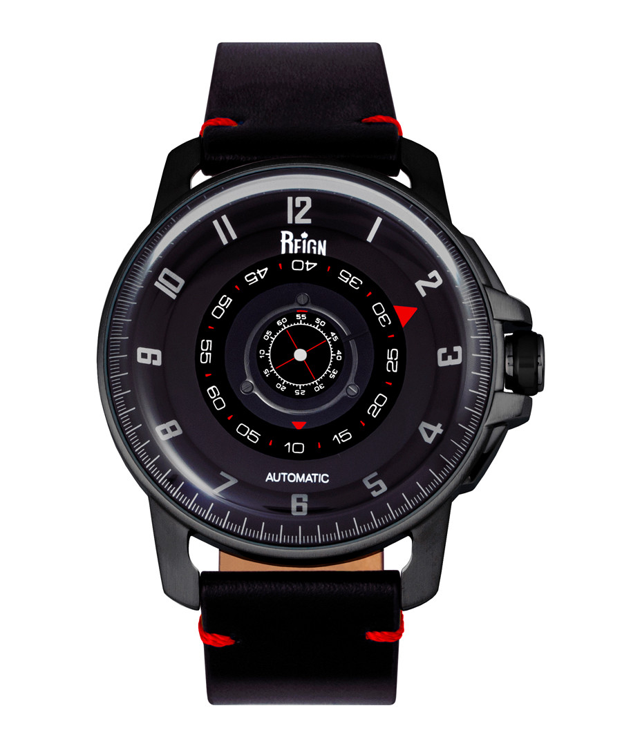 Monarch red & black leather watch Sale - reign