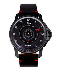 Monarch red & black leather watch