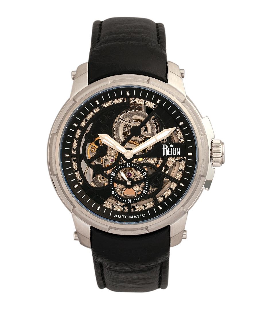 Matheson steel & black leather watch Sale - reign