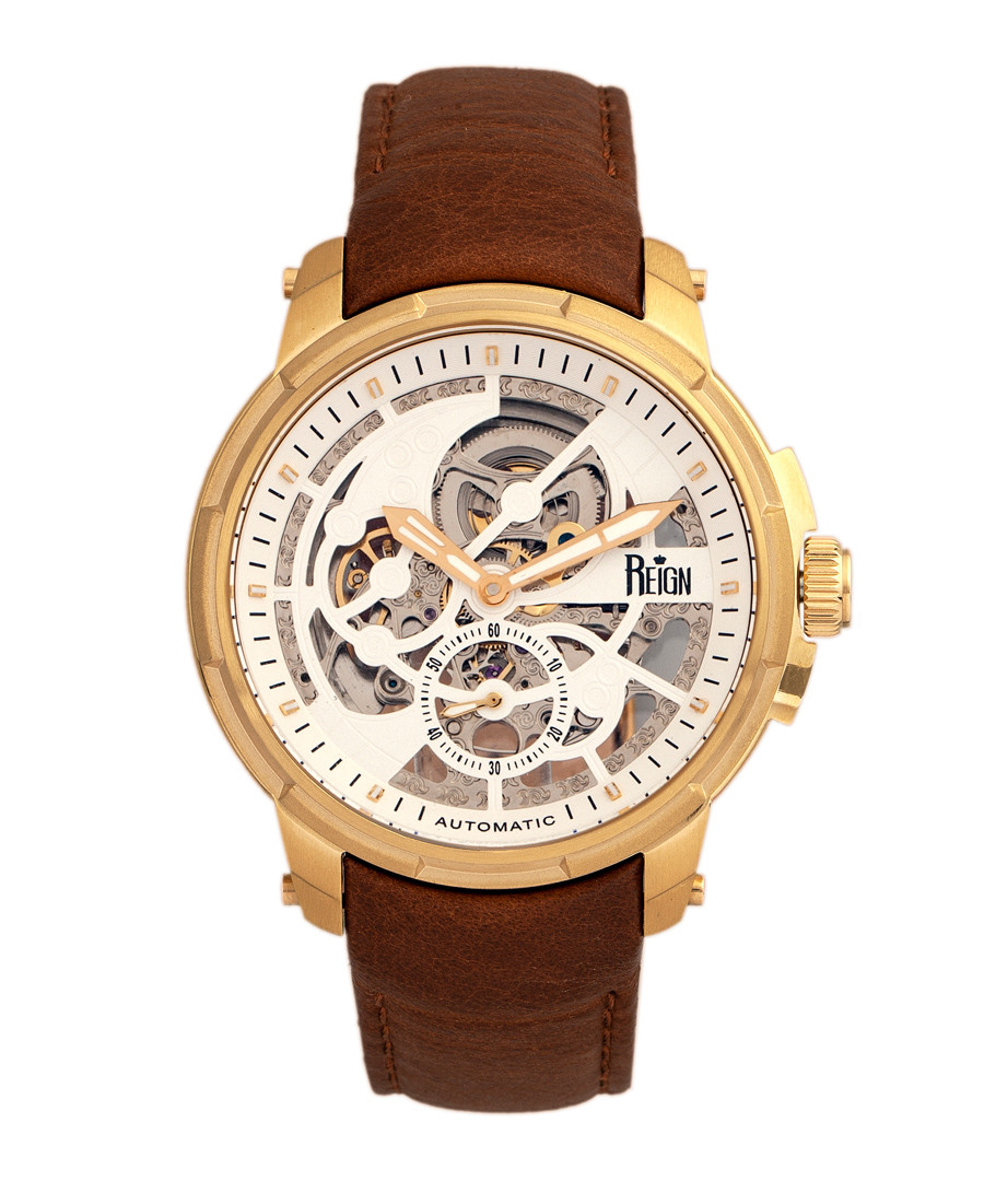 Matheson gold-tone & brown leather watch Sale - reign