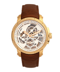 Matheson gold-tone & brown leather watch