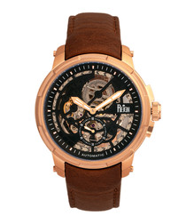Matheson rose gold-tone & leather watch