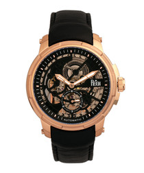 Matheson rose gold-tone & black leather watch