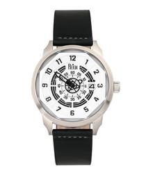 Lafleur steel & black leather watch