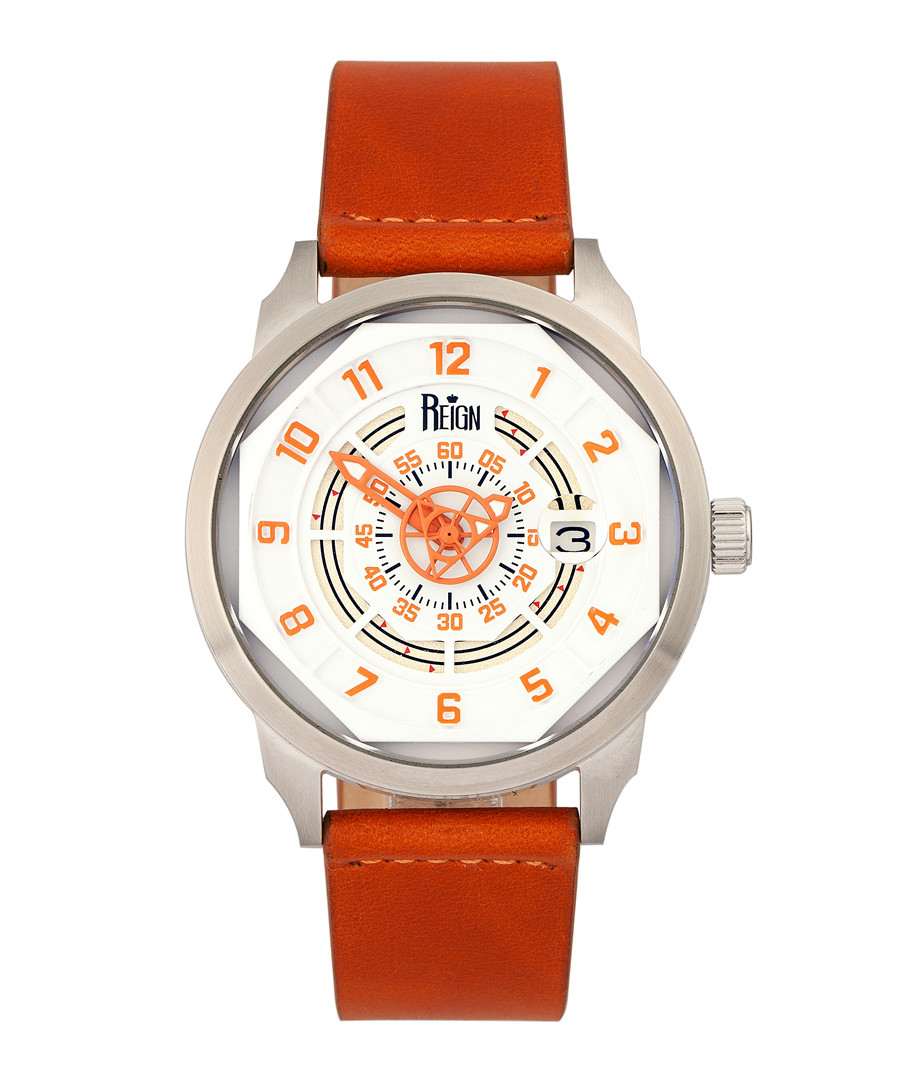Lafleur steel & orange leather watch Sale - reign