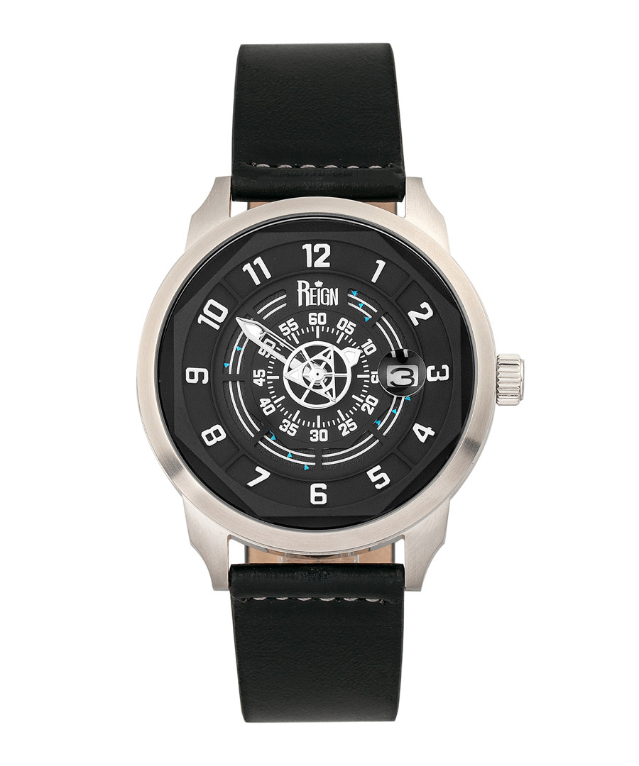Lafleur steel & black leather watch Sale - reign