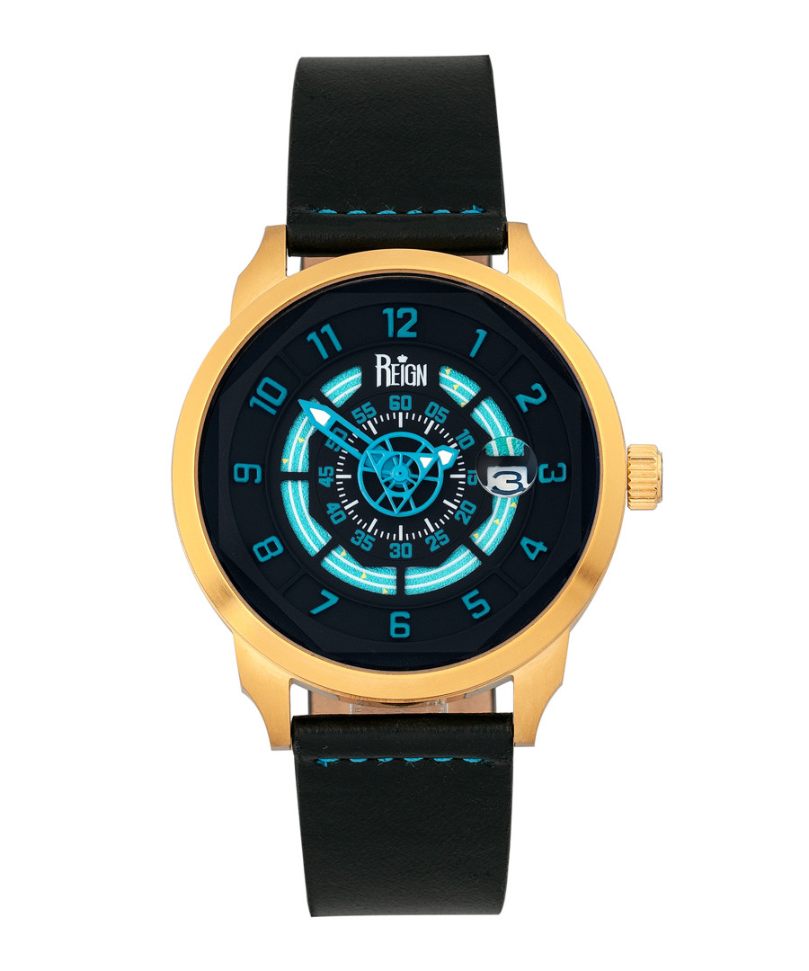 Lafleur gold-tone steel & leather watch Sale - reign