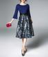 Blue 3/4 sleeve floral dress Sale - Kaimilan Sale