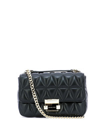 Black leather & chain crossbody bag