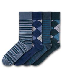 4pc Trerice blue cotton blend socks