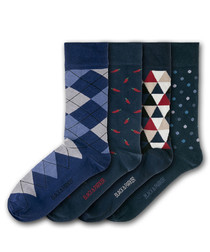 4pc Chatsworth cotton blend socks