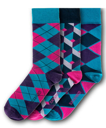 3pc Macclesfield cotton blend socks