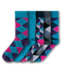 5pc Keingley cotton blend socks