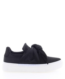 ByardenX black leather knot sneakers