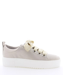 BcapsuleX olive leather lace-up sneakers
