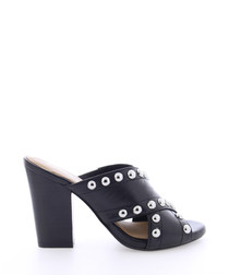 BscorpioX black leather stud sandals
