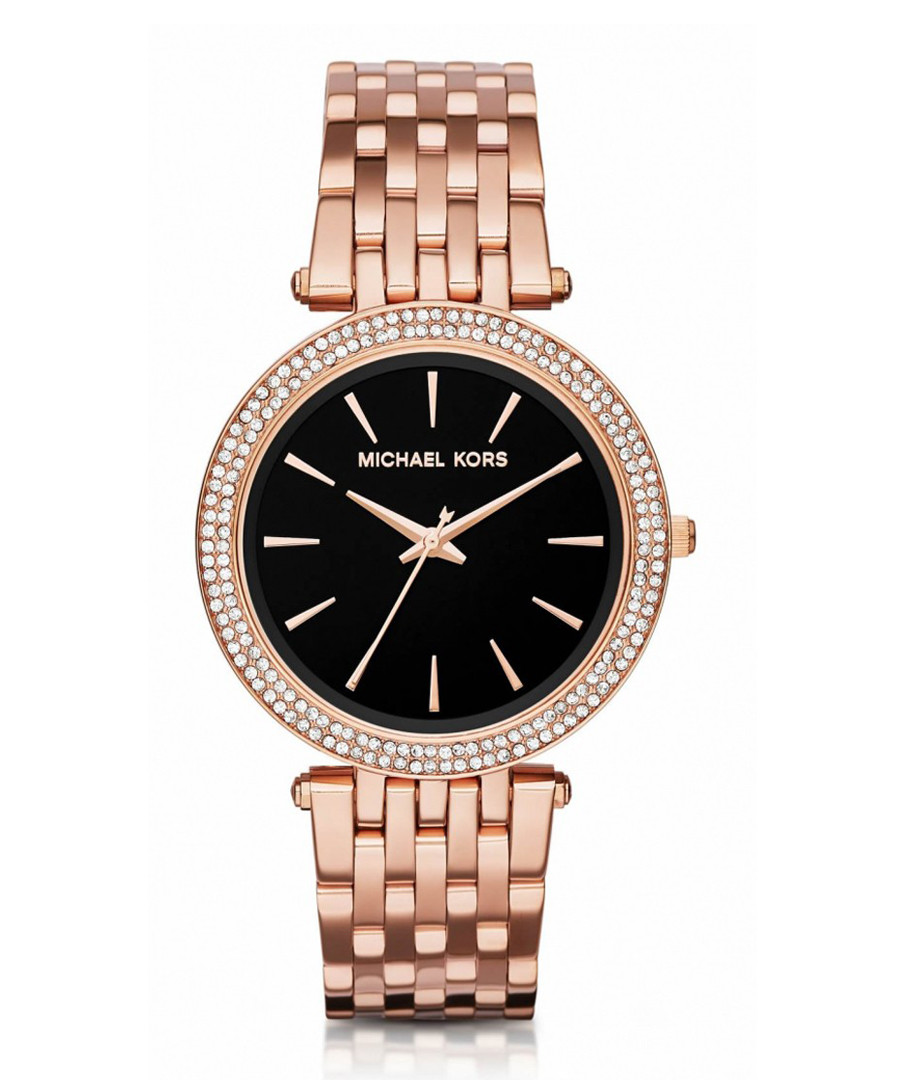 Rose gold-tone & black dial watch Sale - michael kors
