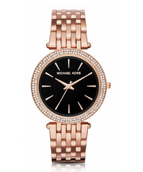 Rose gold-tone & black dial watch
