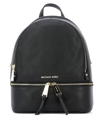 Black leather zip-around backpack